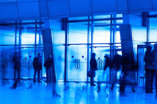 People in Lobby, Blue Tint, Facility Matting
