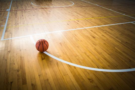 Wood basketball court, gym floor surface